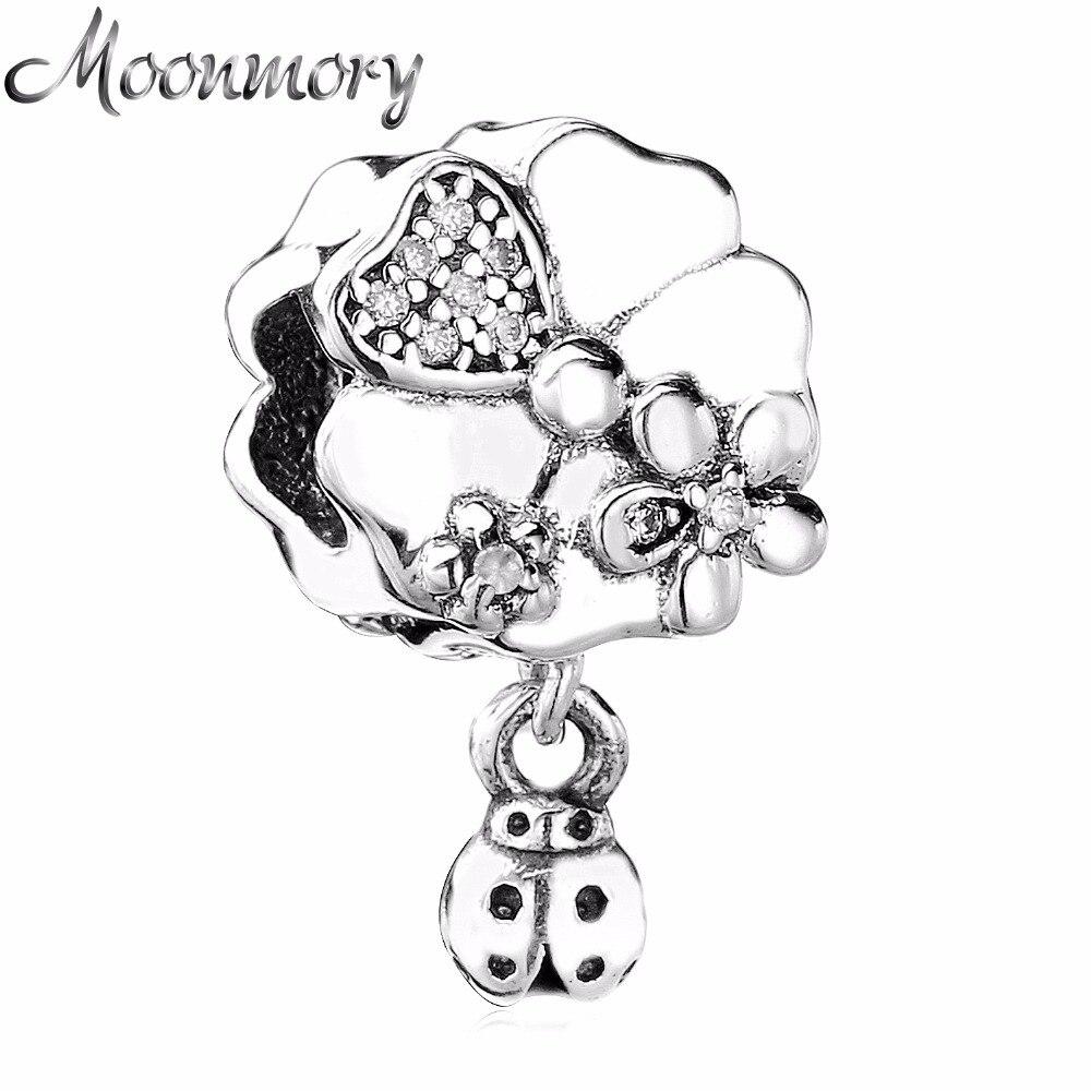 17d867fd282f Moonmory Real 925 mariquita Prado flores silvestres con cristal claro  cupieron las pulseras del encanto DIY