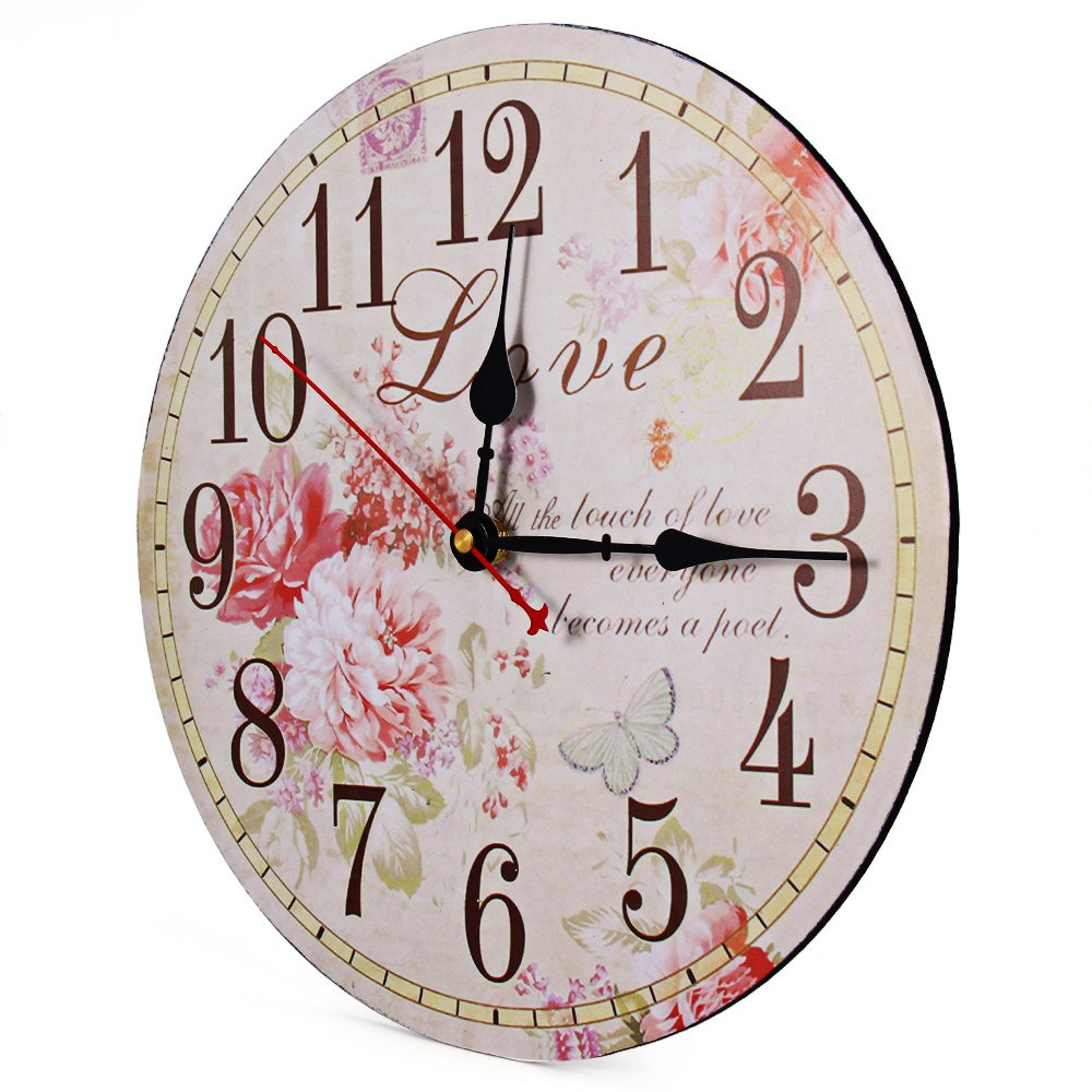 Flower print vintage wooden decorative wall clock free shipping worldwide - Mondaine wall clock cm ...