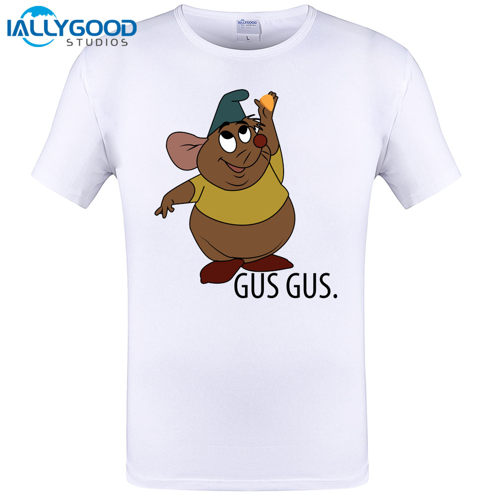 Gus Gus Cute Mouse Design Mens T-shirt Cool Character Printed Men T Shirt Summer Short Sleeve Tops Hipster Tee Plus Size S-6XL
