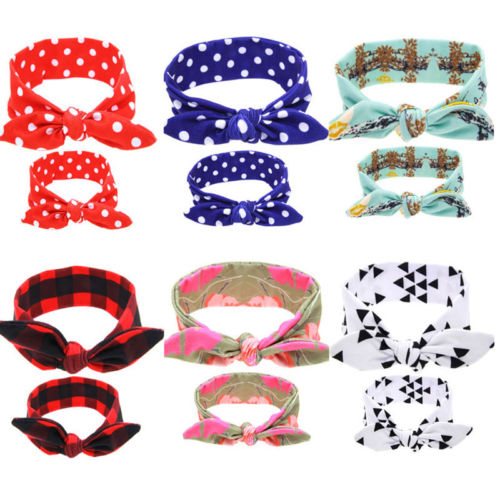 2pcs Women Kids Girls Mother Daughter Matching Headband Cute Rabbit Knot Turban Floral Polka Dot Plaid