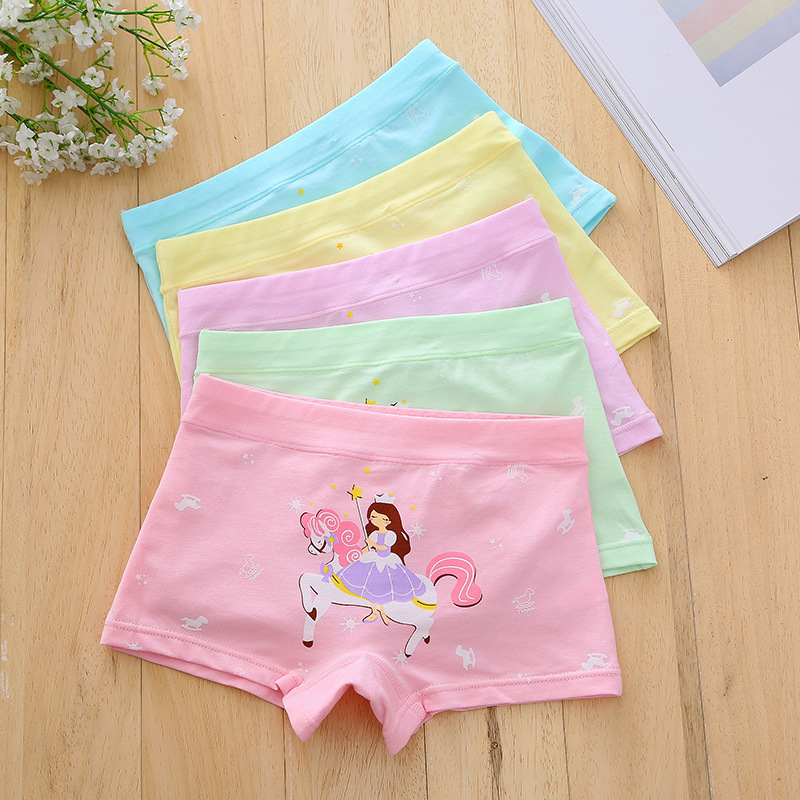 2017 hot sales Girl underwear Free shipping new arrived kids character boxer short children cotton panties 5pcs/lot 3-9year