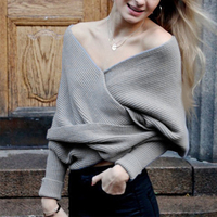 Batwing Sweater Women Knitted Wrap Swing Autumn Winter V neck Creative Design Cardigan Shrug Free Size Oversize Scarves 6Q1161