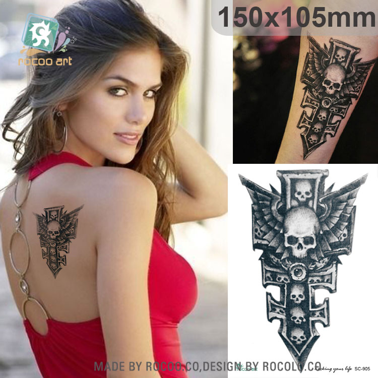 SC905/Black Skull Sword Arm Shoulder Fake Tattoo Body Art Painting Waterproof Temporary Sticker