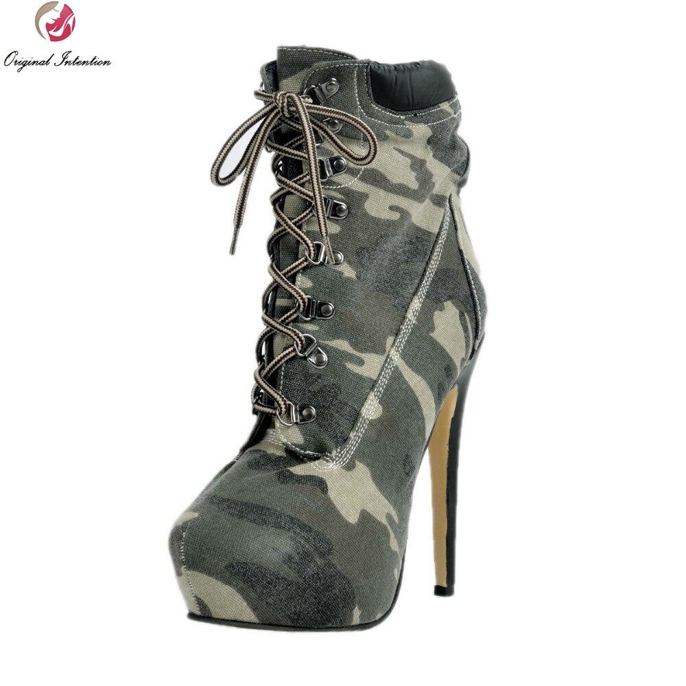 Botas de tobillo de mujer de moda Original de la intención Popular de la plataforma del camuflaje del dedo del pie redondo zapatos de tacón delgado de mujer más tamaño de EE. UU. 4  15-in Botas hasta el tobillo from zapatos    1