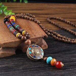 2020 New Vintage Nepal Long Buddhist Mala Wood Beaded Pendant & Necklace Ethnic Bohemian Boho Buddha Lucky Jewelry for Women Men(China)
