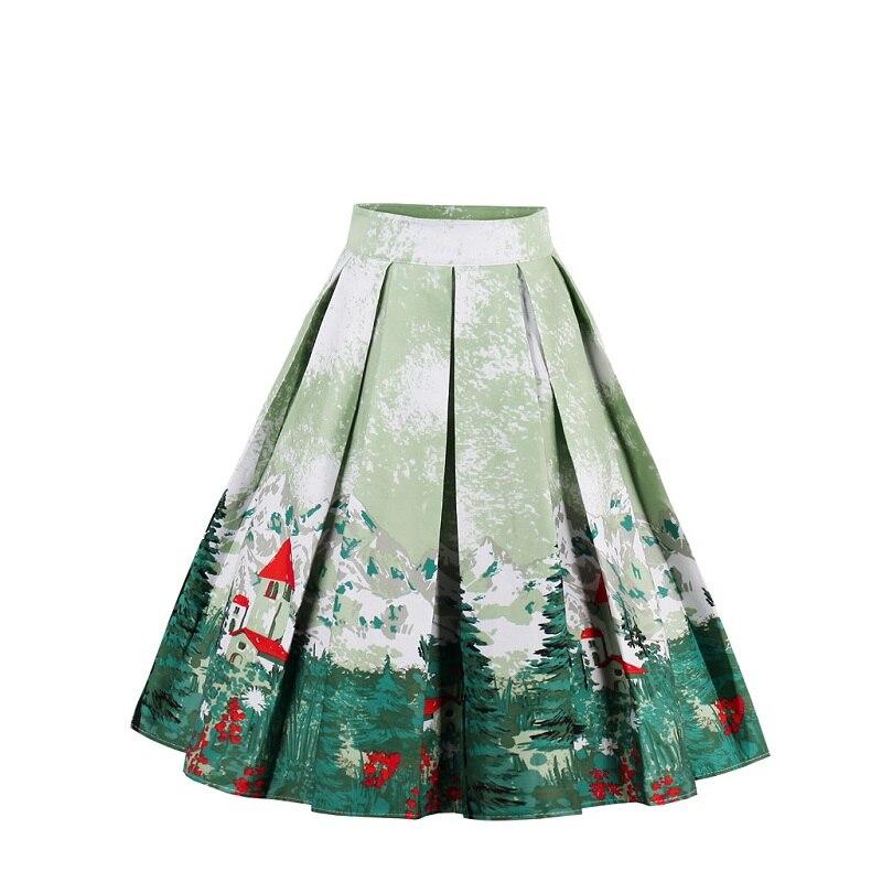 Retro 21 Styles Print Flower Summer Skirts Women 2018 High Waist Vintage Skirt Elegant A-Line Midi Women 50's 60's Skirt