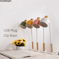Desk Lamp Clip Led Clamp Table light notebook Student Bedroom Bedside Office Flexible head reading Light color Iron Wood USB