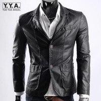 Diseño británico pu chaqueta de cuero de los hombres de un solo pecho vintage solapa de la chaqueta de la motocicleta chaqueta rompevientos ropa exterior más el tamaño l-6xl