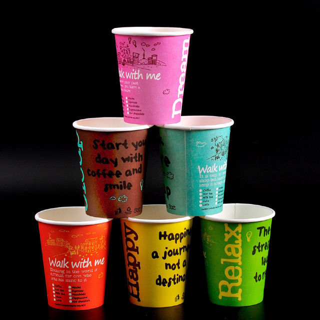 100pcs 8oz Disposable Party Paper Cups Colored Coffee For Birthday Clear Wedding