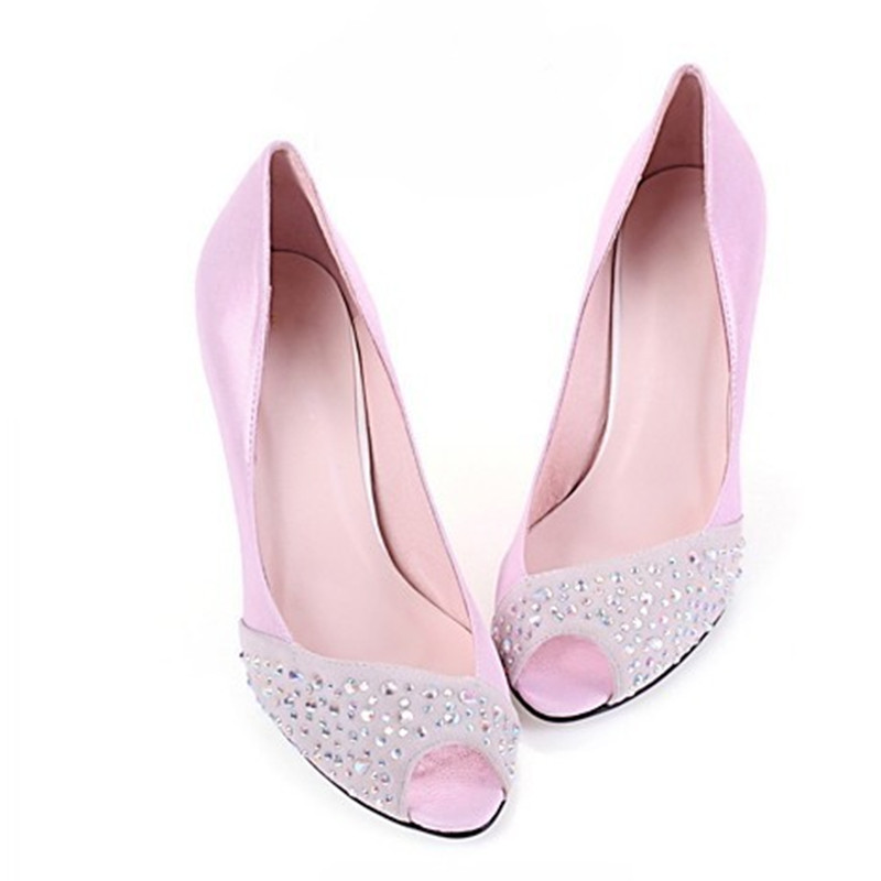 Ladies Rhinestones Real Peep Toe Party Wedding sexy genuine leather high heels Shoes Women Pumps Summer style Plus size14 15 Red 2016 real colorful women pumps custom made plus us4 us15 high heels peep toe slip on zapatos mujer patent leather ladies shoes