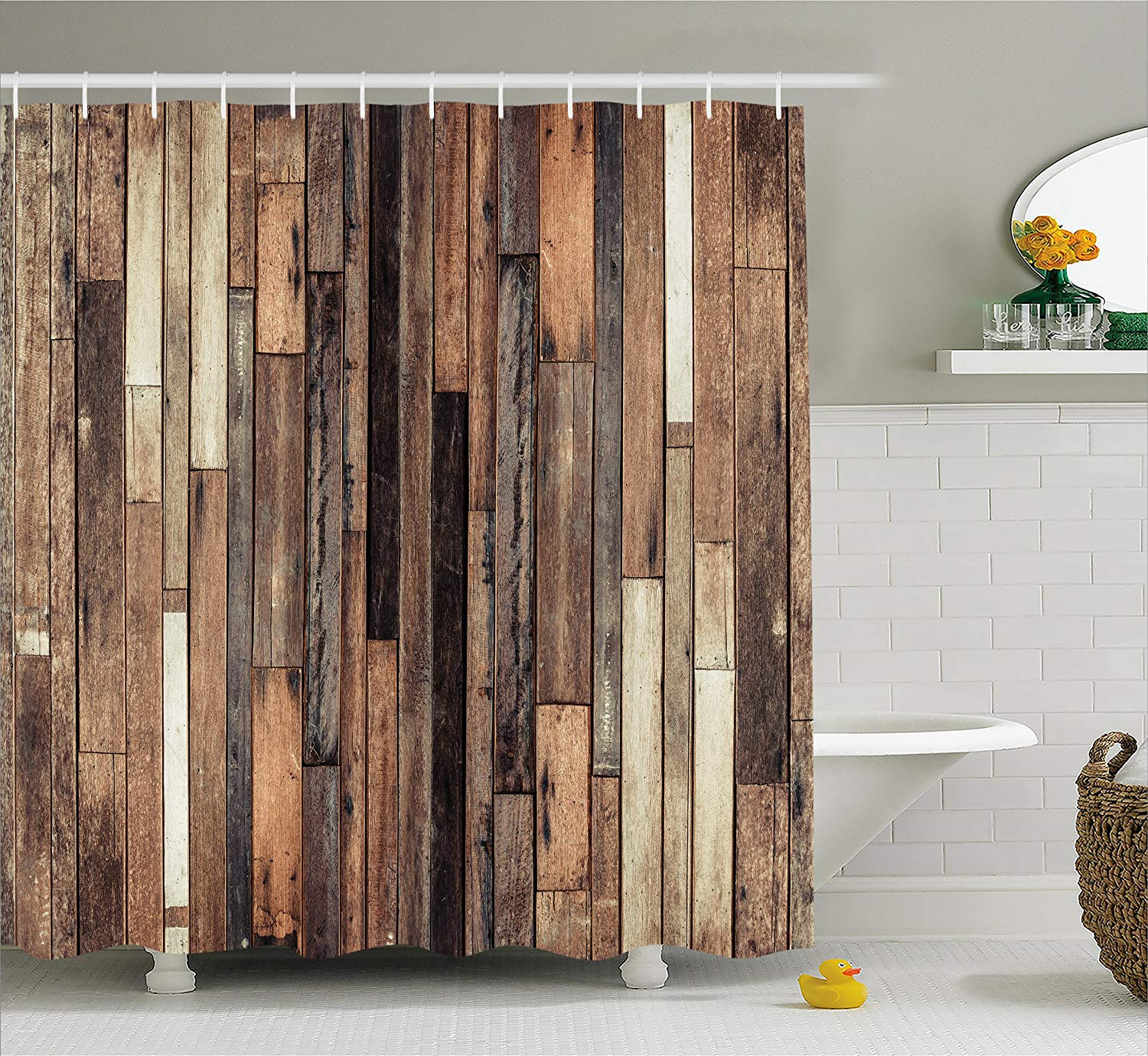 Wooden Shower Curtain Brown Old Hardwood Floor Plank Grunge Lodge