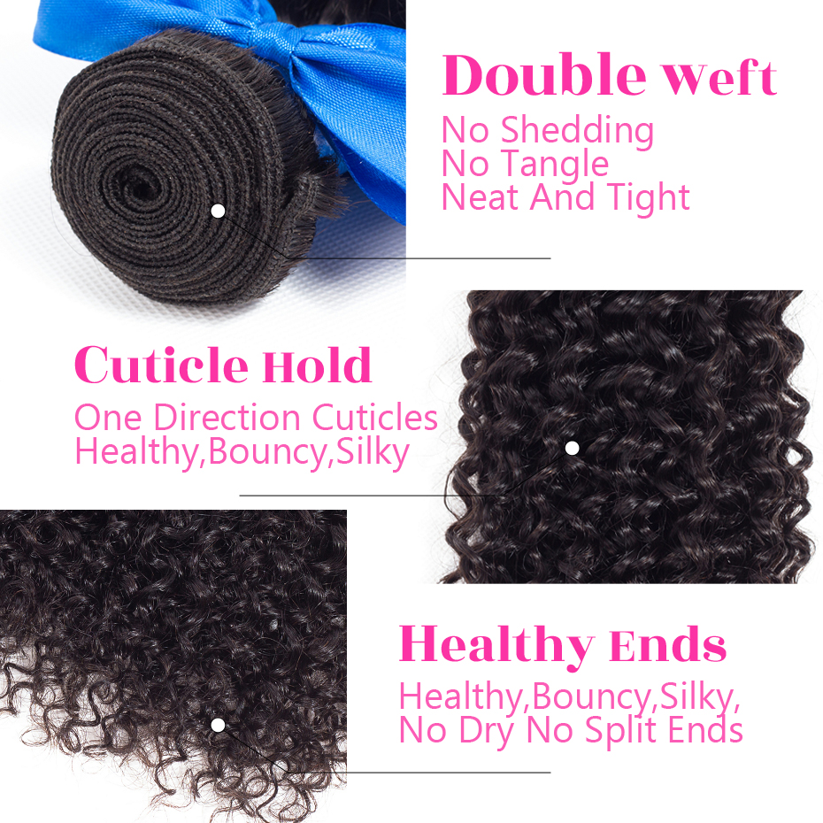 Image 4 - Peruvian Kinky Curly Hair 13x4 Lace Frontal Closure With Bundles Jarin Remy Human Hair 3 Bundles With Lace Frontal Closure-in 3/4 Bundles with Closure from Hair Extensions & Wigs