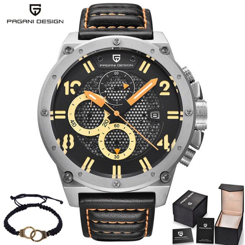 새로운 이교도 디자인 가죽 밴드 시계 남자 아날로그 날짜 스포츠 군사 석영 손목 시계 2017 시계 남성 시간 relogio masculino-에서수정 시계부터 시계 의  그룹 1