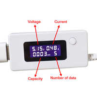 Digital LCD Display USB Voltage Current Capacity Detector Volt Amp Moniter for Charging Mini Battery Tester