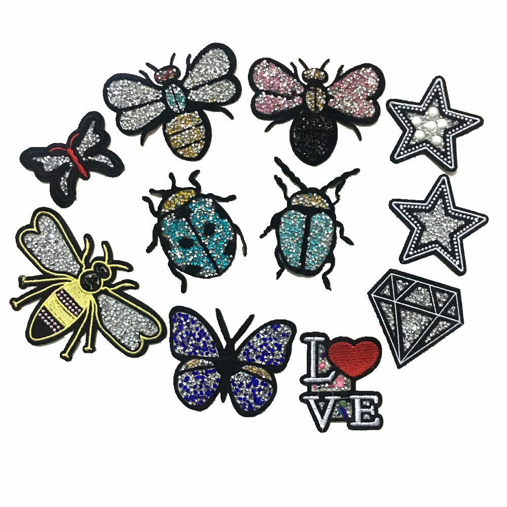 10 Pieces/set Rhinestones Patches for Clothes Iron on Bee Bug Diamond Star Embroidery Patch 3D parches termoadhesivos para ropa