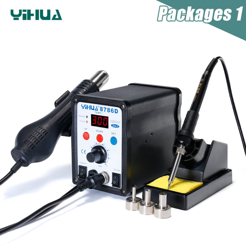 YIHUA 8786D паяльная станция с цифровым дисплеем, пистолет, сварка тепловой пушкой, паяльная станция BGA, паяльная станция - Цвет: 8786D package 1