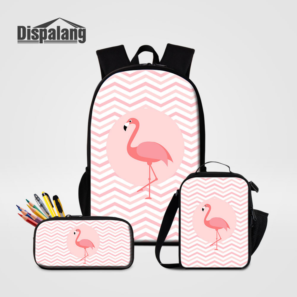 Dispalang Children Backpack Animal Flamingos Print Kids School Bag With Lunch Bag Pencil Case 3 Pcs/Set for Kids School Bags