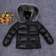 Little Boys Girls Down Coat White Duck Down 2-9Y Kids Jackets with Bigger Fur Boys Black Coat Toddler Winter Coats Child Hoodies
