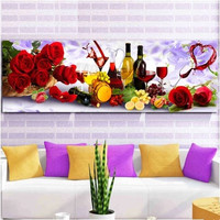 The Latest Styles Are 5D DIY Diamond Painting Cross Stitch Embroidery Round Diamond Inlaid Embroidery Wine