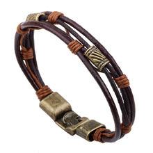 bracelets men 2019 new Hot fashion jewelry genuine leather Stainless steel brown Bracelet men's Vintage Bracelets & Bangles