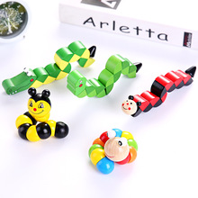 Colorful Wooden Worm Puzzles Kids Learning Educational Didactic Baby Development Toys Fingers Game Children Montessori Gift A25