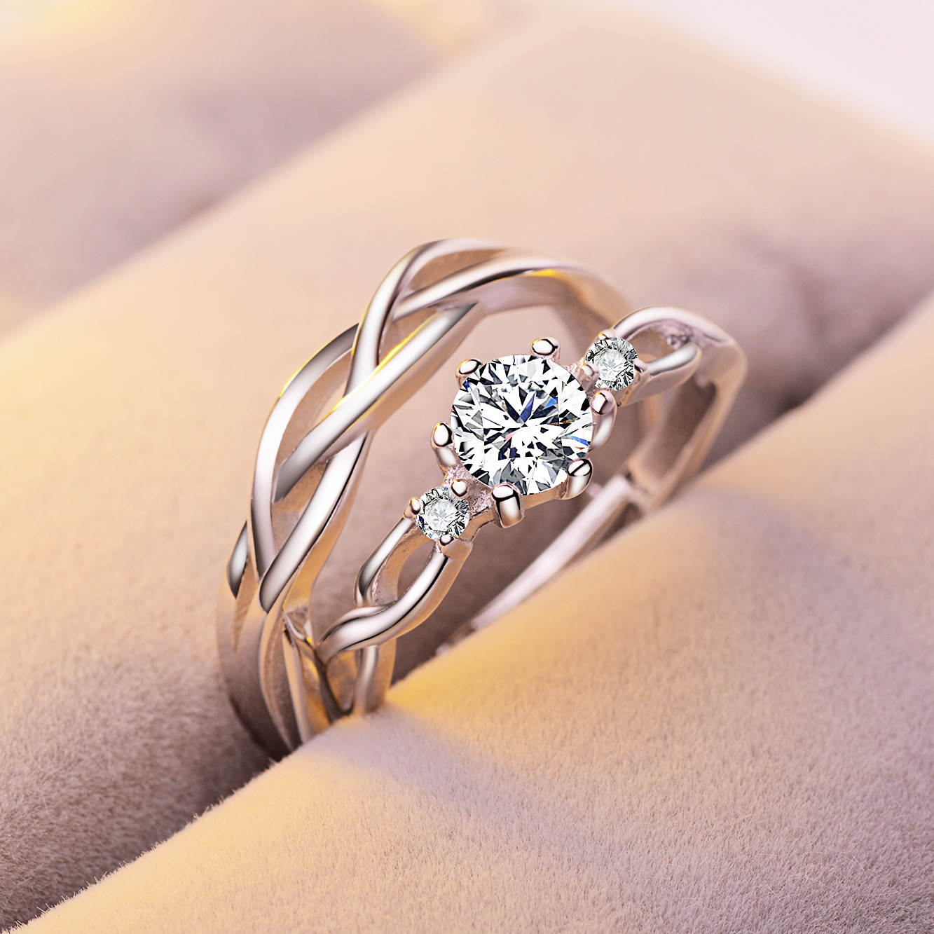 Fashion Simple Opening Ring Couple Ring Female Zircon Six Claw Crown Wedding Ring Accessories
