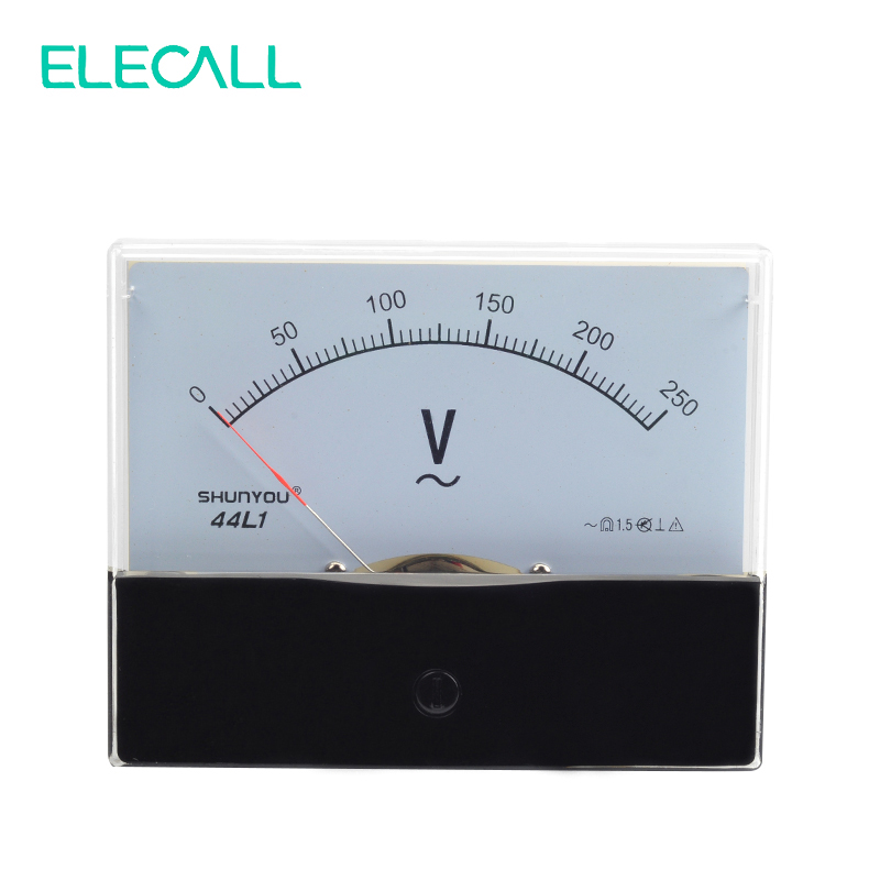ELECALL 44L1 250V Plastic Housing Analog Panel Meter AC 0-250V Volt Meter Class 1.5 Accuracy