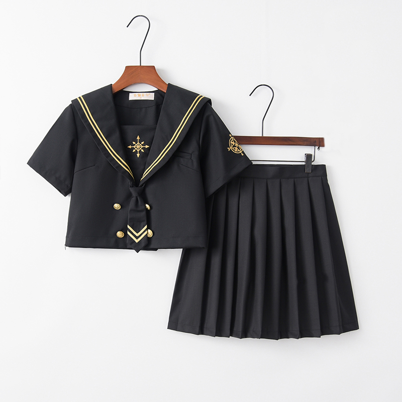 Star Moon Compass Embroidery Japanese School Uniform Girls Black High School Women Novelty Sailor Suits Uniforms