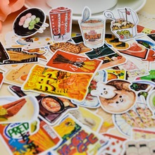 86pcs Self-made Handbook Sticker Food Collection Kindergarten Snacks Sticker Chinese Food Creative Student Diary Handpainted