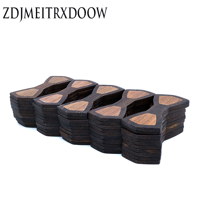 Semi-manufacture 100 PCS Splicing Wooden bow tie adults size 12cm*5cm Wenge black walnut