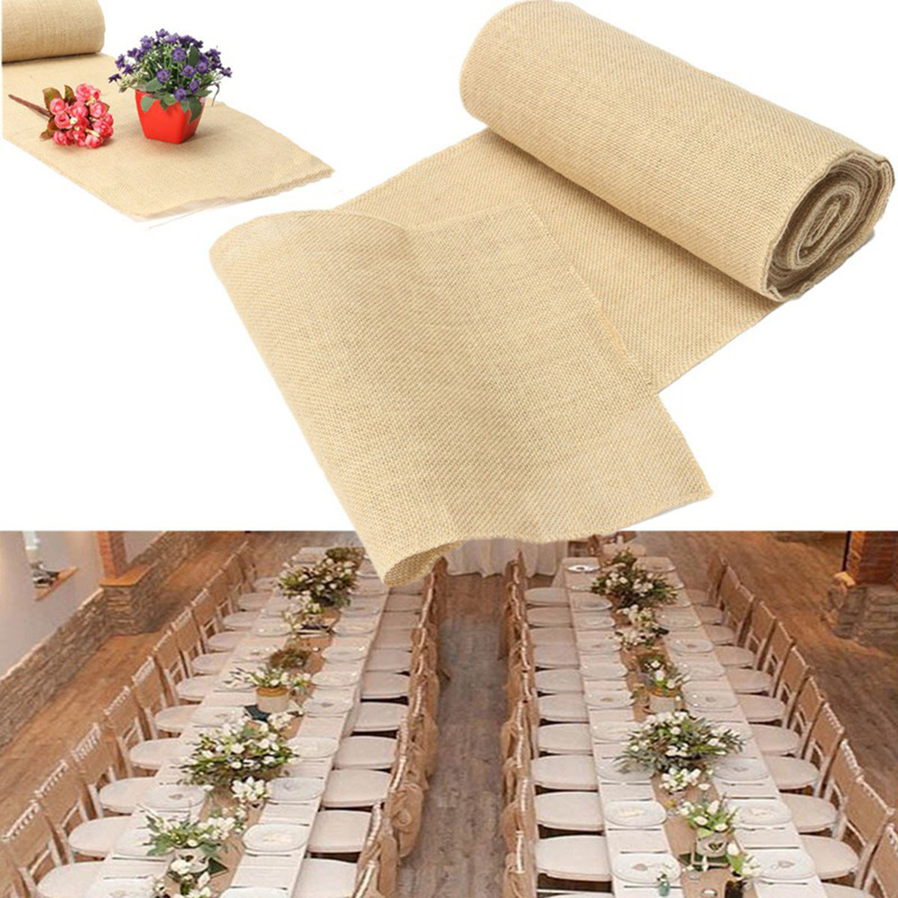 Rustic Wedding Chair Sashes - 30x275cm burlap table runner cloth wedding decoration natural jute linen diy chair sashes decor rustic home party supplies