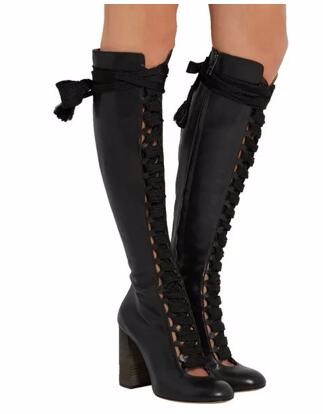 Fashion Trend Sexy Cut Outs Lace Up Round Toe Women Knee High Boots Chunky High Heels Side Zip Winter Party Dress Boots Woman 2015 hottest drop shipping vintage round toe strappy zip knee high boots studs chunky heel leather boots women high heels j459