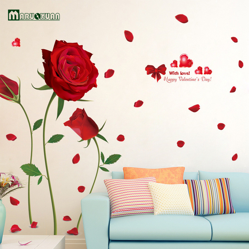 New removable romantic red roses quote wall stickers - Removable wall stickers living room ...