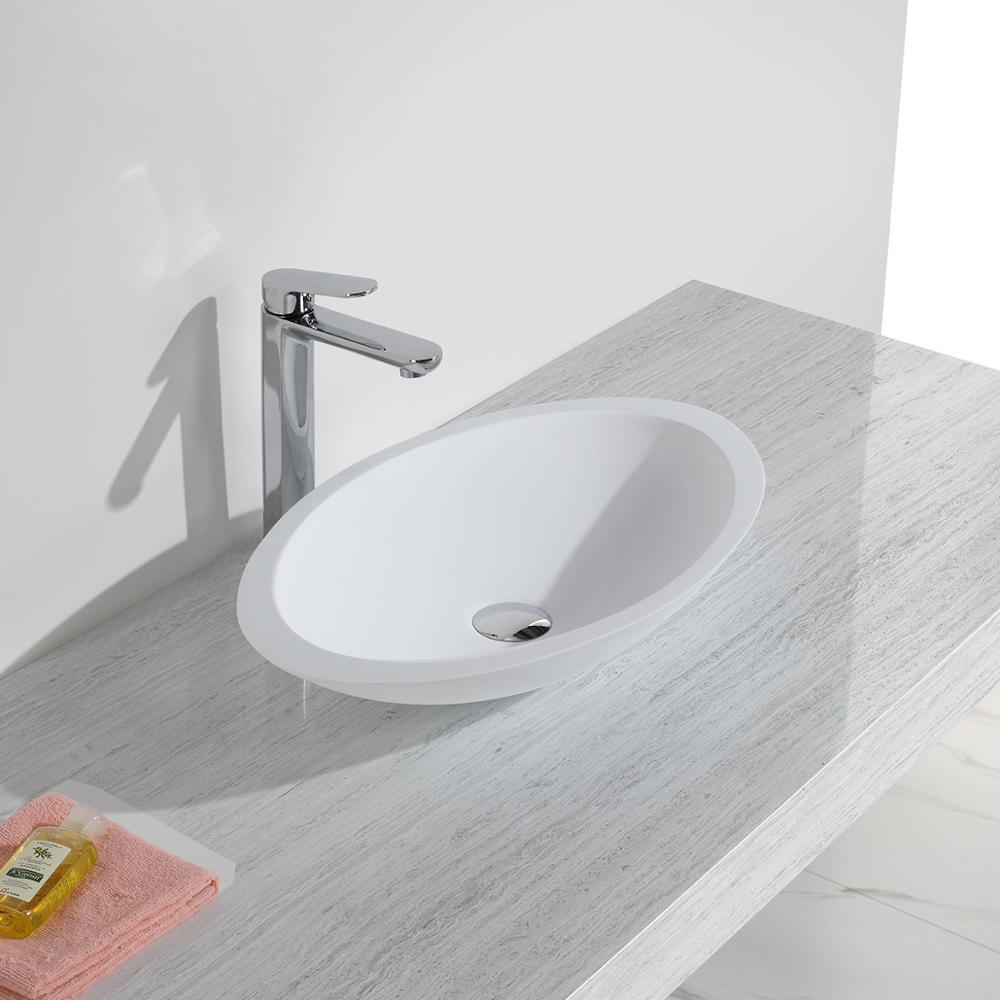 KKR surface solide pierre artificielle mat blanc ovale de lavage de comptoir bassin KKR-1301
