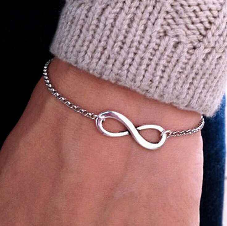 hot New Arrivals Korean Hot Fashion Simple Metal 8 Infinity Charm Bracelets For Women & Men Jewelry Summer Style Beach