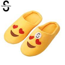 Senza Fretta Women Shoes Winter Warm Slippers Indoor Floor Slippers Non-slip Soft Sole Home Slippers Women Funny Emoji Slippers