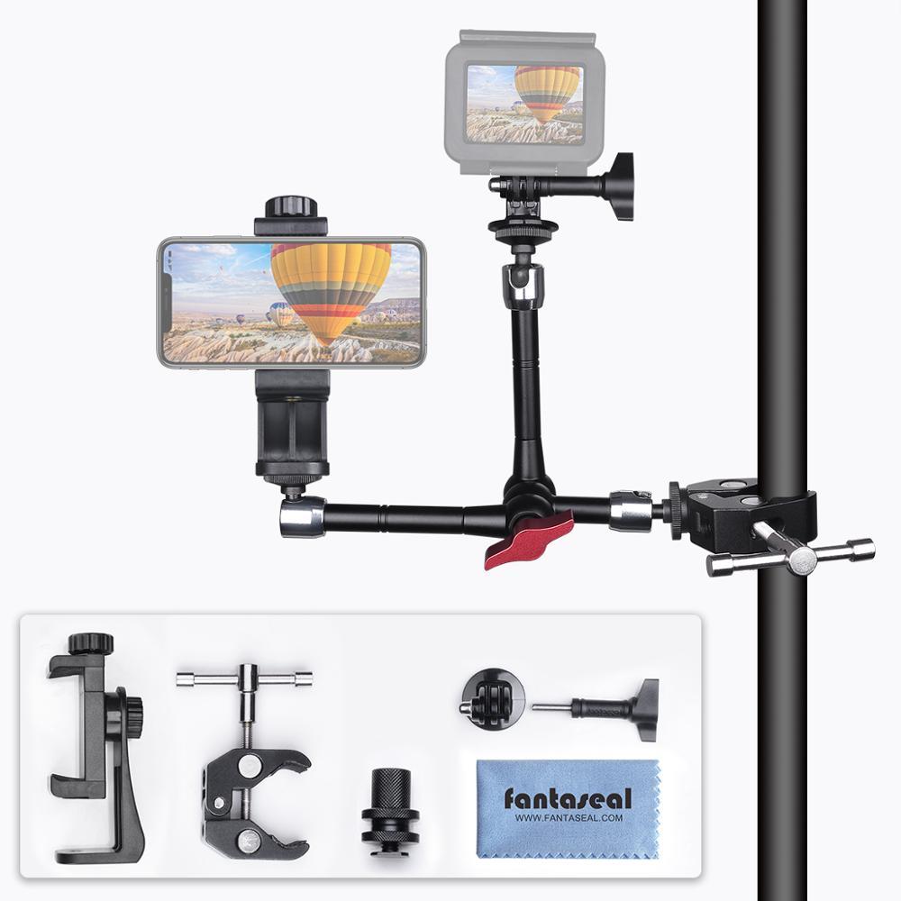 Alliage d'aluminium réglable 3 bras magique caméra pince support support de montage pour Gopro Sony Action caméra lampe de poche LED vélo vélo