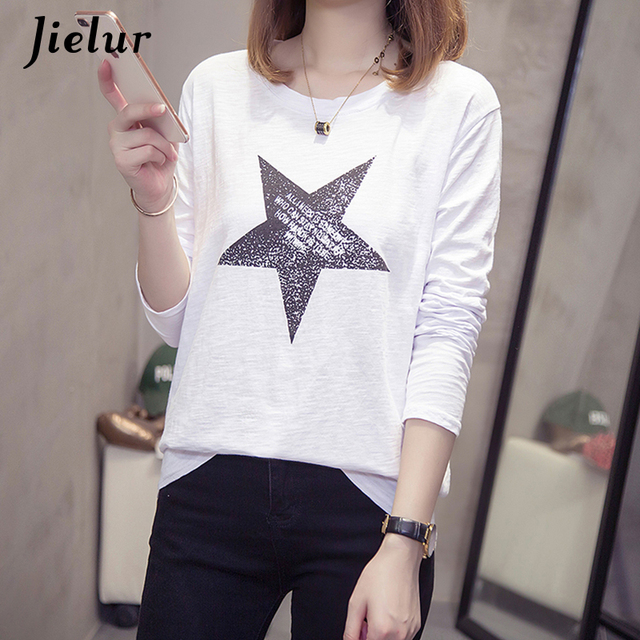 33fe63c0f05 US $11.88 35% OFF|Jielur Fashion Five pointed Star Print T shirt Women Long  Sleeve Round Neck Tops Slub Cotton Loose Female T shirt Autumn M XXL-in ...