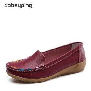 Image 3 - dobeyping Slip On Womens Loafers Spring Autumn Shoes Woman Genuine Leather Flats Women New Female Moccasins Shoe Big Size 35 41
