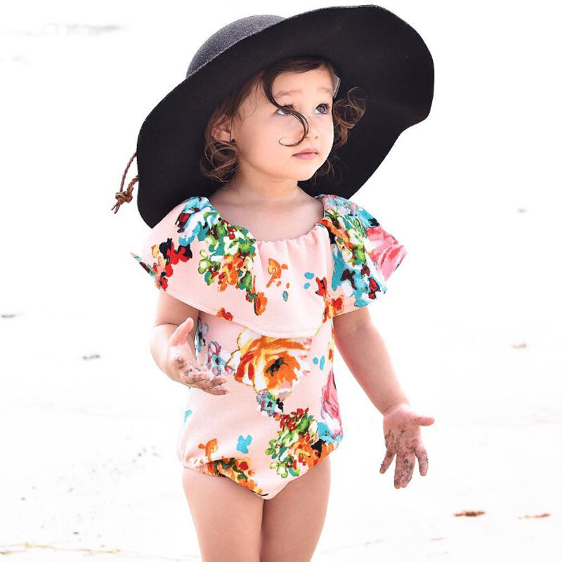Baby Girl Romper Floral Beachwear Toddler Kids Beach Clothes Outfits Summer Girls Clothing GIFT