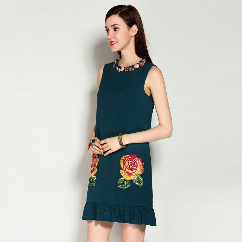 Xl Broderie Femmes Robes Manches Robe Taille Nouveau Femme Fleur Mode Sans Style Piste Décontractée D'été 2017 qw6az