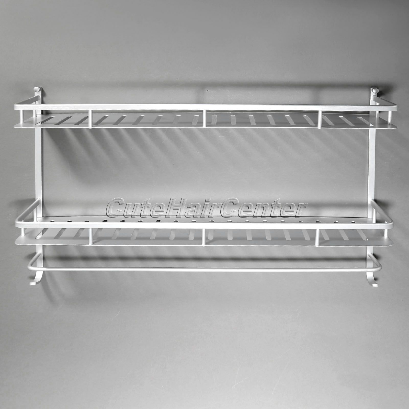 ᗕHot Sale Rectangle Silver Aluminium Shower Storage Holder Rack ...