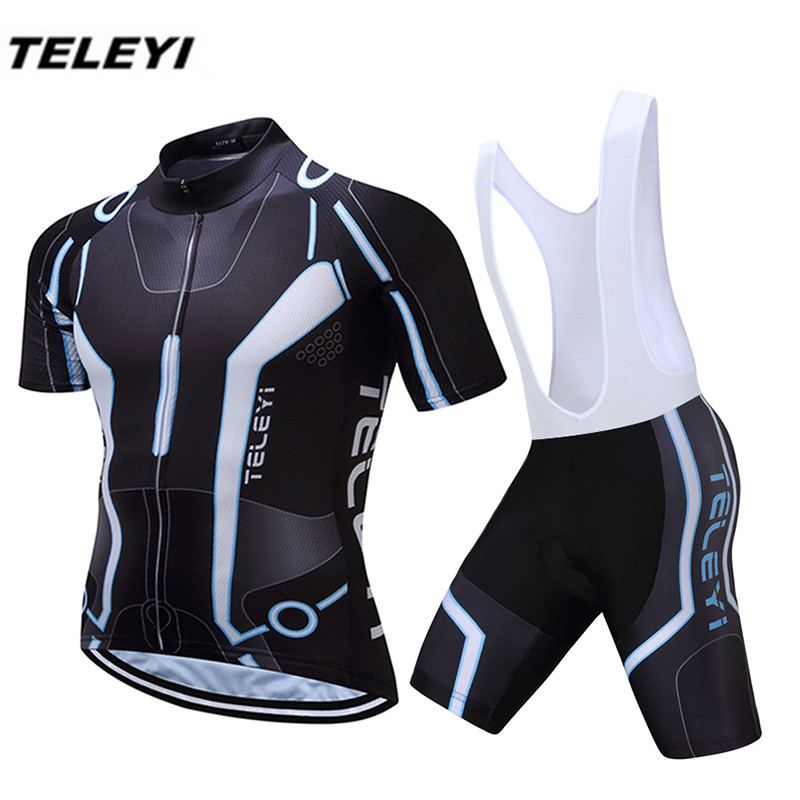 New TELEYI Black Bike Jersey bib shorts set Men Cycling Clothing bicycle Top Suit Ropa Ciclismo maillot blouse MTB Shirts Sports 2016 new men s cycling jerseys top sleeve blue and white waves bicycle shirt white bike top breathable cycling top ilpaladin