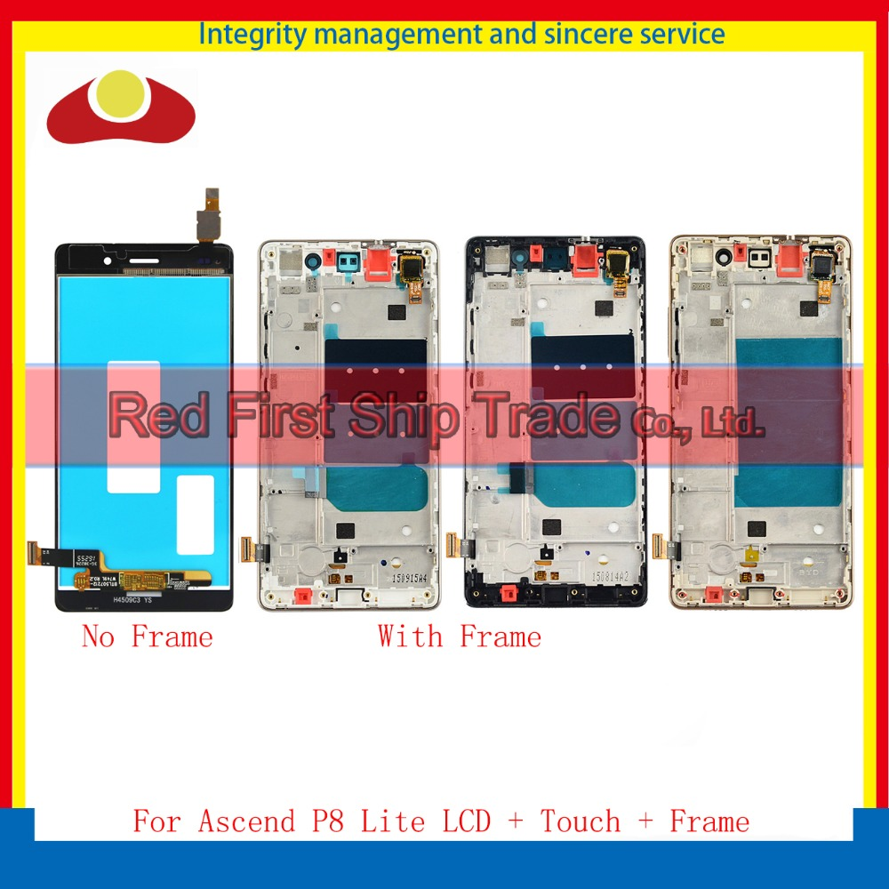 Подробнее о High Quality For Huawei Ascend P8 Lite Lcd Display Assembly Complete With Touch Screen Digitizer Sensor + Frame Black White Gold free dhl 5pcs high quality lcd display digitizer touch screen glass assembly for huawei p9 lite g9 black white gold with frame