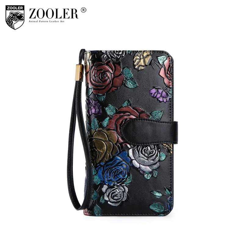 2018 ZOOLER sacchetto di cuoio genuino donna portafogli supporto di carta della borsa della moneta di lusso progettato in rilievo della pelle bovina del sacchetto di frizione per la signora # r118