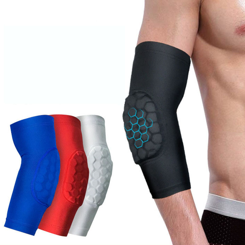 1Pcs Basketball volleyball Honeycomb Elbow Pads Protector elbow support Brace Guard Elastic Sport Safety Arm Sleeve
