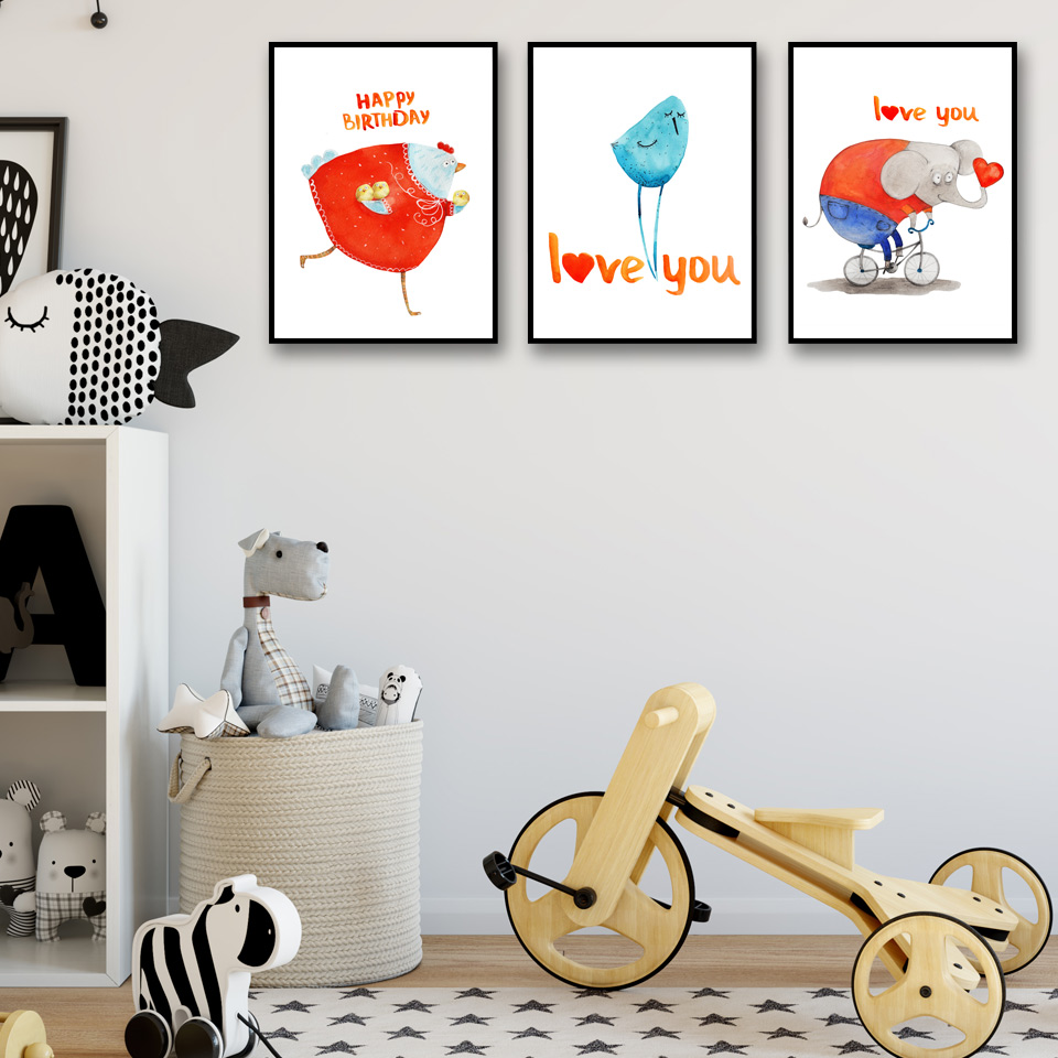 Canvas Painting HD Prints Pictures For Living Room Cartoon Chicken Bird And Elephant Decoration Nordic Cuadros Posters Wall Art