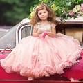 Flor Vestidos de Meninas Para a Festa de Casamento E Rosa Muito Lindo personalizado Lace Apliques A Linha Little Girl Pageant Vestido Bola vestidos