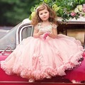 Muchachas de flor se Viste Para El Partido Y La Boda Largo Rosado Encantador personalizado de Encaje Apliques Una Línea de vestidos de Niña Desfile Del Vestido de Bola vestidos