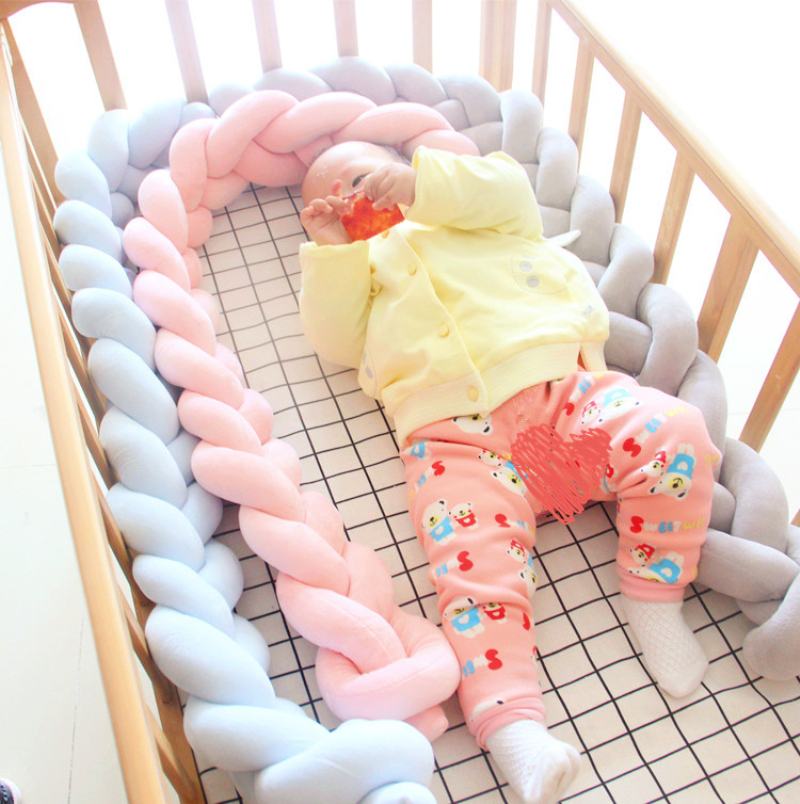 200cm Length Baby Bed Bumper Pure Color Weaving Plush Baby Crib Protector For Newborns B ...